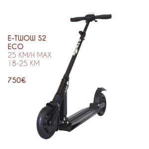 Trottinette électrique E-twow S2 Eco. Pliable, légère et étanche.
